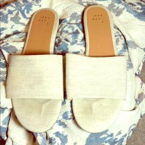 Tan Linen Slides